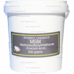 Shop our great range of Regency Organics products at Sirona, including this Methyl sulfonyl methane (MSM)  powder which is an organically bound form of sulphur. Sulphur is in fact a macromineral - this is a mineral that is needed by out bodies in large quantities daily.